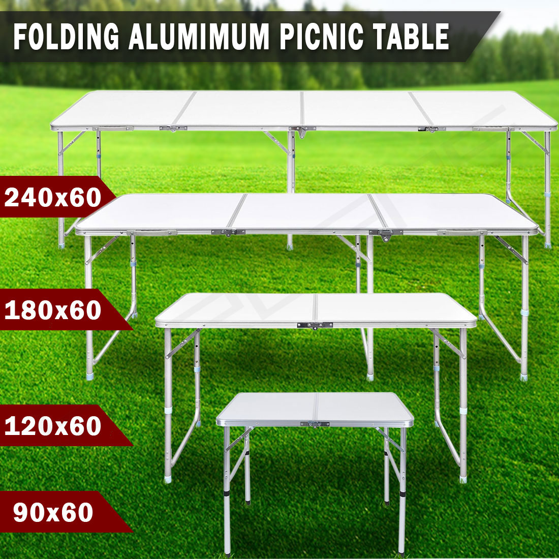 Details about folding camping table portable picnic outdoor garden bbq aluminum dining desk